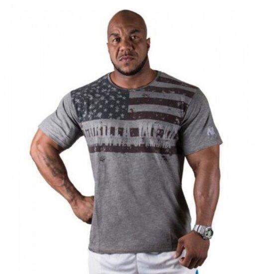 USA FLAG T-SHIRT szürke 3XL póló Gorilla Wear