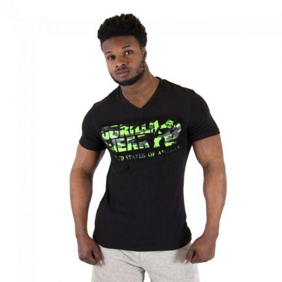 SACRAMENTO V-NECK T-SHIRT fekete/neon zöld XXL férfi póló Gorilla Wear