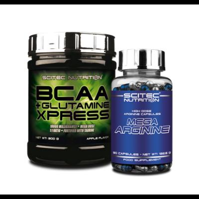 BCAA+Glutamine Xpress 300 g + Mega Arginine 90 kapsz. (szett) Scitec Nutrition