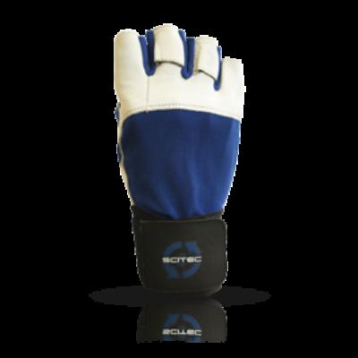 Kesztyű Power Blue with wrist wrap férfi sötétkék Scitec Nutrition