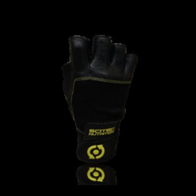 Kesztyű Scitec - Yellow Leather Style férfi fekete, sárga Scitec Nutrition
