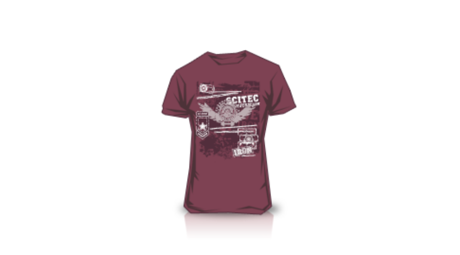 Sport Shirts Scitec Nutrition T Shirt Made Of Iron Burgundy
